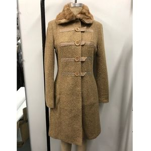 Textured Tweed Coat with Fur Collar